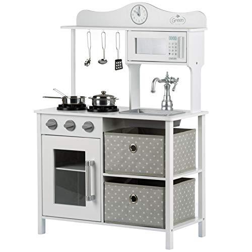 Kinderholzküche Kinderküche Holzküche Kinderspielküche Weiss Spielzeugküche GS0058 Neu Weiß