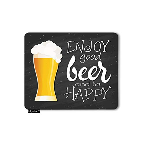 Moslion Beer Mouse Pad Word Enjoy Good Beer and Be Happy Bubble Gaming Mousepad Rubber Large Mouse pad for Office Work Laptop Computer Desk 9.5x7.9 Inch Black Yellow