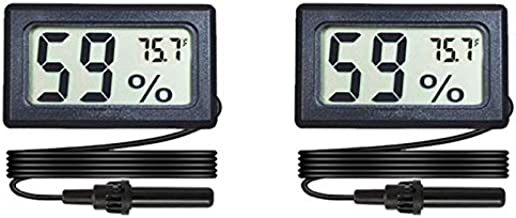 Veanic 2-Pack Mini Digital Hygrometer Thermometer Gauge with Probe LCD Display Temperature Fahrenheit Humidity Meter for Incubator, Reptile Plant Terrarium, Humidor, Guitar Case, Greenhouse