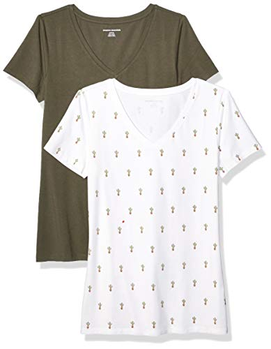 Amazon Essentials Damen-T-Shirt, klassisch, kurzärmlig, V-Ausschnitt, 2er-Pack, Cactus Print/Olive, Small