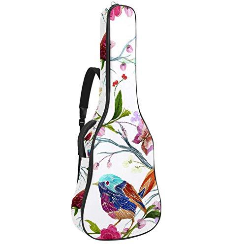 Bolsa para Guitarra Ilustración de aves y flores Funda para Guitarra Acústica Clásica y Eléctrica 40 41 pollici 10 mm funda Acolchada Mochila Guitarra