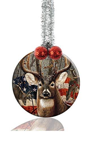 LCTCKP Image Custom Home Round Porcelain Ornament Christmas Tree Decoration Gift (Deer)