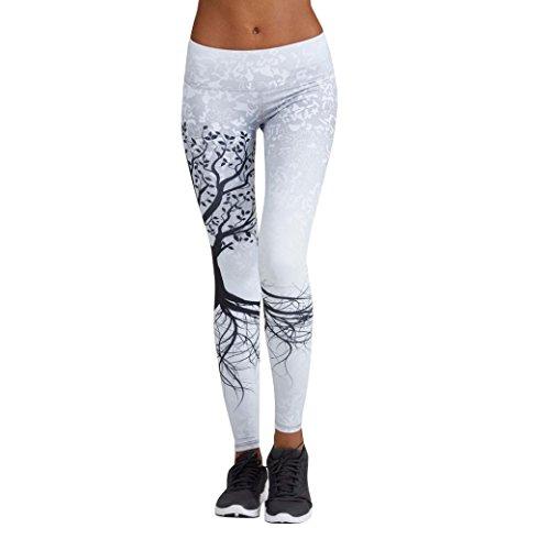 Mujer Pantalones Largos deportivos SMARTLADY Patrón de árbol Leggings para Running, Yoga y Ejercicio (S, Blanco)