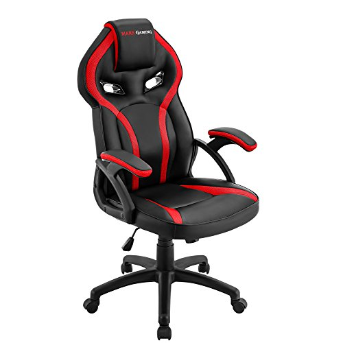 Mars Gaming MGC118 Silla Gaming Ergonómica en PU y Nylon, Regulable, Rojo, L