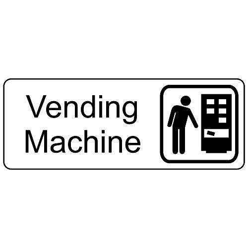 ComplianceSigns Vending Machine Sign, 8x3 in. White Engraved Plastic for Wayfinding