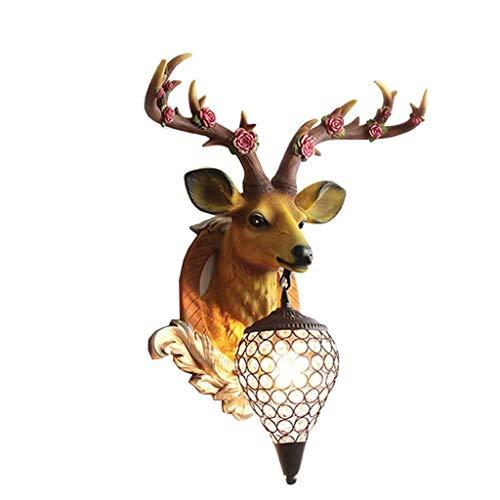 TOPNIU Figurine Object Lucky Deer Head Wall Room Room Fondo Wall Heart Stayroway Dormitorio de la Cama Lámpara de asta