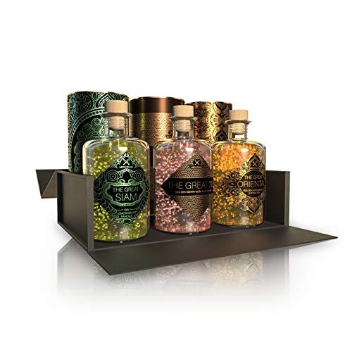 The Great Trio, Gin Geschenkset (3 x 0.5 l) - Feinste Gins mit 23 Karat reinem Blattgold - Verpackt in einer hochwertigen schwarzen Magnetbox