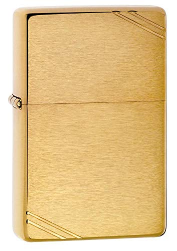 Zippo Vintage Brushed Brass Lighter - Mechero, Color Brushed Brass