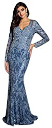 Slate Lara 29885 Lace V Neck Long Sleeves Mermaid Gown