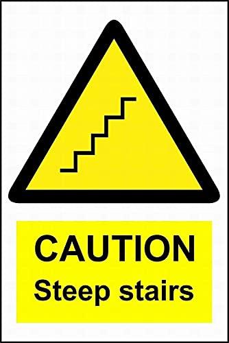 Cartel de chapa, señal de precaución, escaleras empinadas, señal de advertencia, cartel de chapa de metal, 8 x 12, barra de metal, decoración de sala de estar, decoración de restaurante, pintura de h