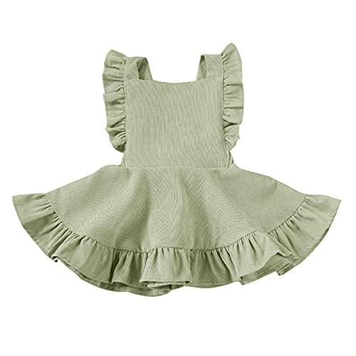 MERSARIPHY Toddler Tutu Dress Infant Sleeveless Vest Skirt Baby Backless Cute Romper for Girl Ruffle Skirt, Ages for 6Mos-5T (Mint Green, 1-2 T)