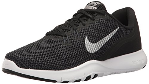 Nike Women's Flex Trainer 7 Cross, Black/Metallic Silver - Anthracite - White, 8.5 B(M) US