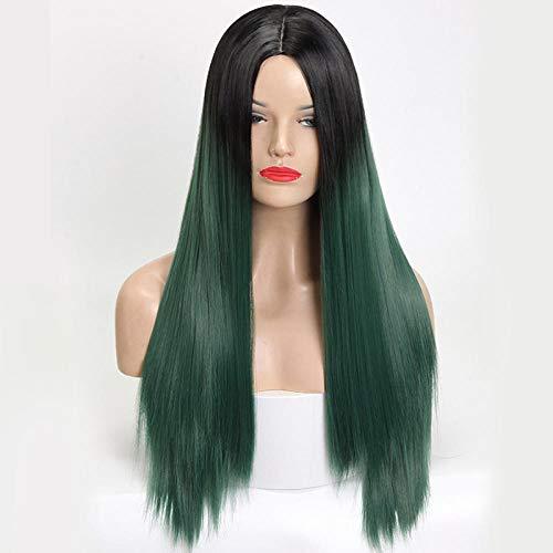 Dames pruik, stijlvol gradiënt groen glad en lang steil haar, party pruik bar decoratie pruik