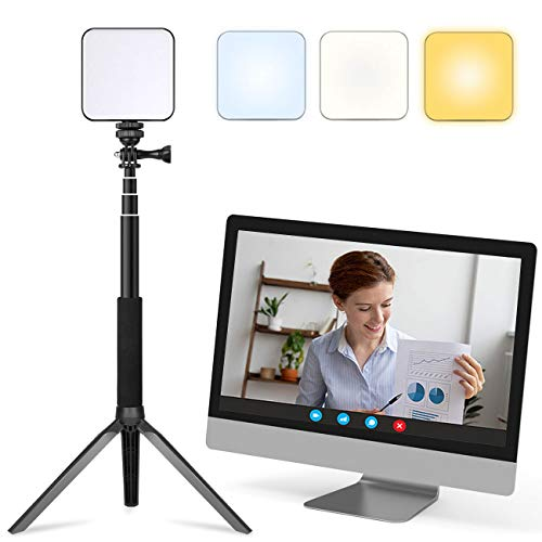FDKOBE Video Conference Lighting Kit, Webcam Lighting for Remote Working/Zoom Calls, Zoom Lighting/Live Streaming, Self Broadcasting, for Laptop/Computer with Tripod (cv64&t)