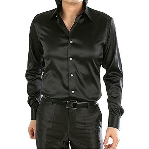 BLACKHEI Camisas sedosas de lujo sueltas de los hombres de manga larga casual como camisa de vestir talla grande, Sa01200, M