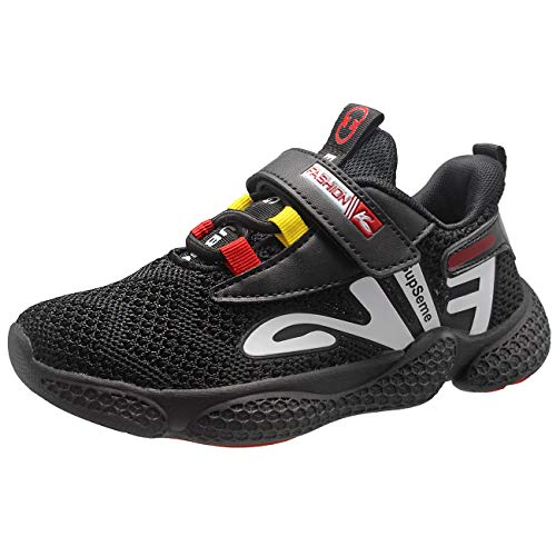 DEARC Zapatillas Deportivas Niña Velcro Ligero Transpirables Zapatos de Correr para Niño, Negro-31