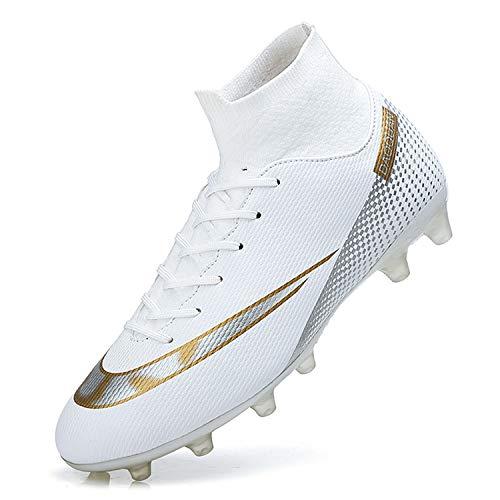 WOWEI Fußballschuhe Herren High Top Spike Cleats Outdoor Athletics Trainingsschuhe Fußball Stiefel,T2150 Weiß,EU45
