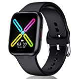 CatShin Smart watch 1.54 Full Touch Screen for Women Men Fitness Tracker smartwatch IP68 Waterproof Activity Tracking Heart Rate Monitor Calorie Counter Pedometer Compatible IOS Android Phones(Black)