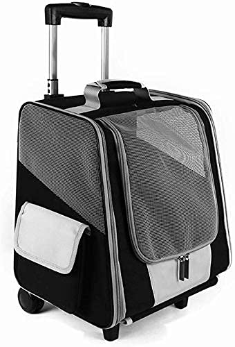 Mochila de viaje para mascotas, portátil, práctica con carrito y mango telescópico, bolsa de equipaje para ruedas de cochecito portátil (negro)