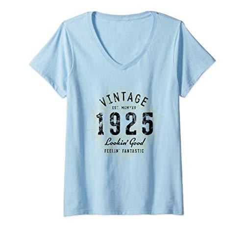 Donna Vintage 96° compleanno Nato nel 1925 Maglietta con Collo a V