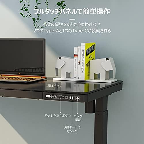 FLEXISPOT電動式昇降デスクEG8(幅120×奥行60,ガラス天板)メモリー機能付き組立簡単USBポート付きスタンディングデスクパソコンデスクガラステーブル(ホワイト)