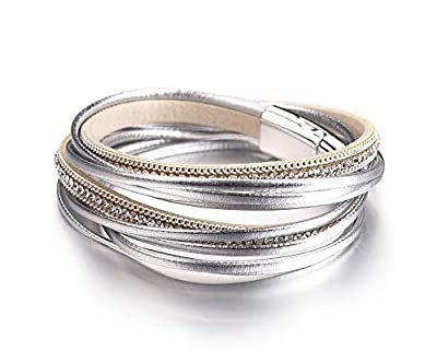 Fesciory Women Multi-Layer Leather Wrap Bracelet Handmade Wristband Braided Rope Cuff Bangle with Magnetic Buckle Jewelry (Silver Rhinestone)