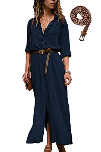 Mujer Vestidos Largos Casual Camiseros Manga Larga Botón Lateral De Hendidura Vestido De Fiesta Azul M