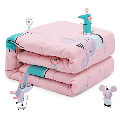 Sivio Kinder-Gewichtsdecke, 3.2 kg, 105x150 cm, 100% natürliche Baumwolle, Schwere Decke für Kinder und Jugendliche, Sichere Glasperlen, Rosa Maus