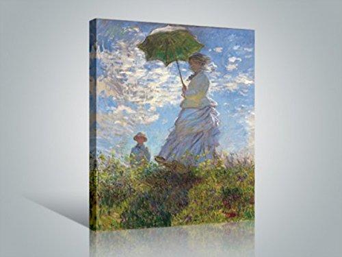 1art1 Claude Monet - Frau Mit Sonnenschirm, Madame Monet Mit Ihrem Sohn, 1875 Bilder Leinwand-Bild Auf Keilrahmen | XXL-Wandbild Poster Kunstdruck Als Leinwandbild 80 x 60 cm