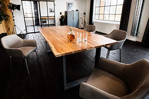 KAWOLA Esstisch 120x85cm massiv mit Baumkante Fuß silberfarben