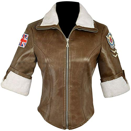 UGFashions Women's Halloween Overwatch Tracer Game Cosplay Costume Brown Fur Geniune Leather Jacket