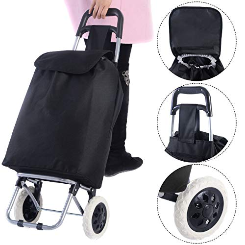 Happygrill Folding Shopping Cart, Waterproof Trolley Dolly Stair Climbing Utility Cart