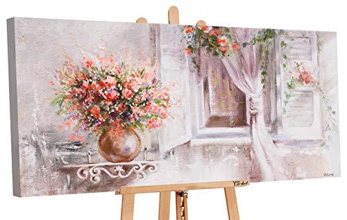 YS-Art | Acryl Gemälde Provence | Handgemalte Leinwand Bilder | 120x60cm | Wandbild Acrylgemälde | Moderne Kunst | Leinwand | Unikat | Beige