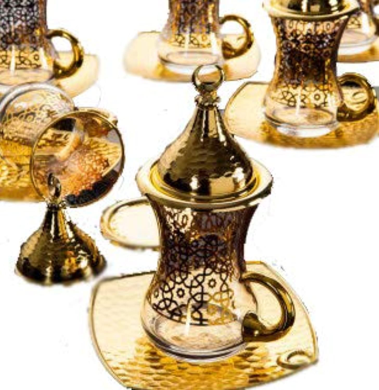 gold Case gold plated Gilded Turkish Tea Glasses Set for 6 - Made in Turkey - 24 pieced set, Gilded-gold