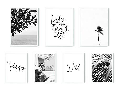 MARELLE 7er Poster Set Mykonos Summer, Wohndeko Schwarz Weiß Bilder Spruch, Bester Preis I A3 & A4 ca. 30x40 20x30 ohne Rahmen Nr8503