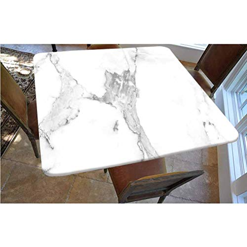 Marble Polyester Fitted Tablecloth,Abstract Stained Hazy Pattern Natural Textured Architectural Background Theme Decorative Square Elastic Edge Fitted Table Cover,Fits Square Tables 48x48 Grey White