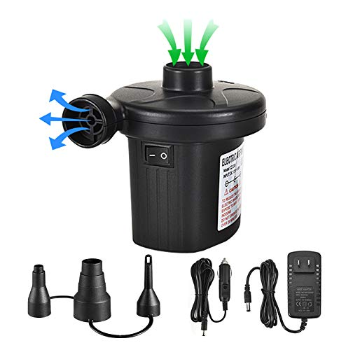 Electric Air Pump for Inflatables Air Mattress Small & Portable Cordless Air Pump with Car Adapter AC100-240V/DC 12V,50W