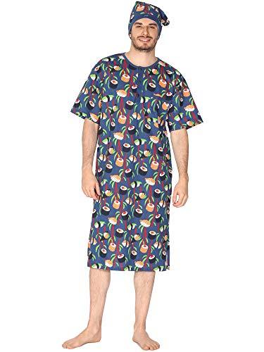 Cornette Herren Kurze Ärmel Nachthemd mit Schlafmütze 109V2020 (Jeans (Sushi), XXL)