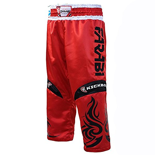 Farabi KickBoxing Broeken Pants Mix martial arts Full contact Blue Red Black Adult & Kids maten (rood, X Small)