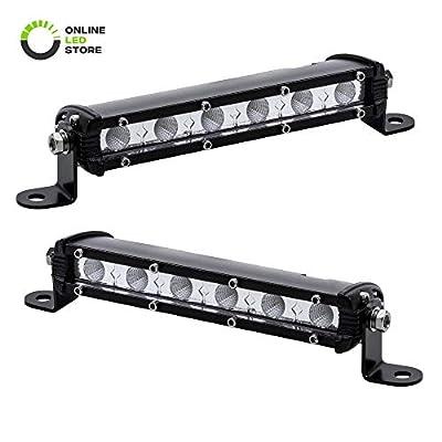 "2pc 7"" Ultra-Slim Single Row Off Road CREE LED Light Bar [1530lm] [18W] [IP68 Waterproof] [12V - 24V] Fog/Driving/Work Lights for Trucks ATV Cars - 60 Degrees Flood Light"