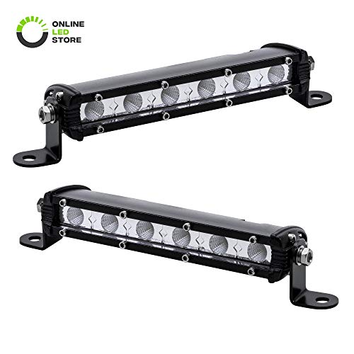 2pc 7' Ultra-Slim Single Row Off Road CREE LED Light Bar [1530lm] [18W] [IP68 Waterproof] [12V - 24V] Fog/Driving/Work Lights for Trucks ATV Cars - 60 Degrees Flood Light