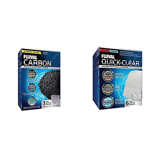Fluval Aktivkohle 3er Pack 3x100 g & Feinfilterpads 6er-Pack für Fluval 304/305/306/404/405/406