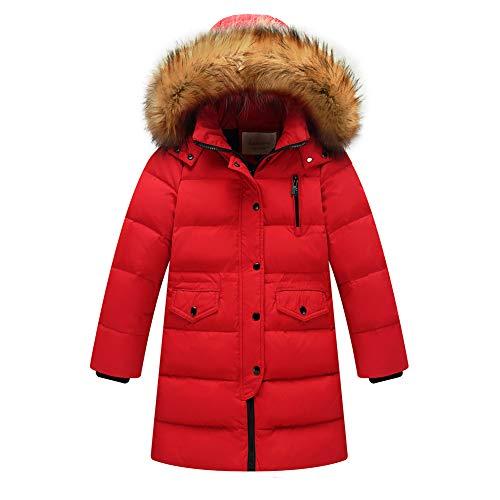 Daunenjacke Kinder Winterjacke Jungen Wintermantel Mädchen Daunenmantel Warm Outdoorjacke mit Kaputze Rote 160