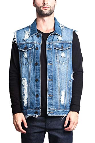 Heren Hip Hop Denim Waistcoat Vesten Mannen Zwart Blauw Ripped Jeans Vest Mannelijke Mouwloos Denim Biker Jeans Jas Lente Herfst