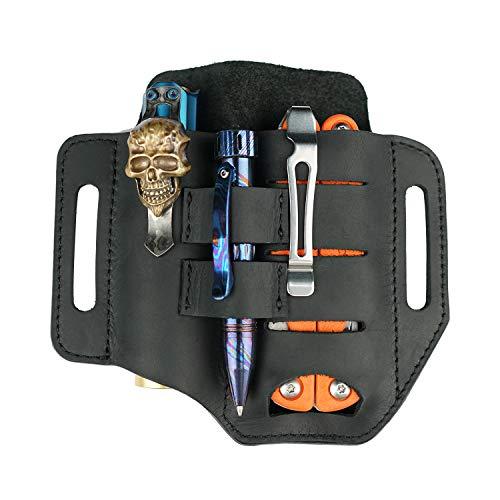 VIPERADE PJ13 EDC Lederscheide, Leder Taschenlampenholster/für Leatherman Multitools Hülle, 3 Taschen Organizer Scheide für Messer/Taschenlampen/Taktische Stifte/Werkzeuge (Schwarz)