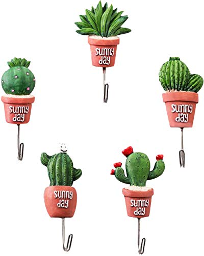 PUTING 5 Pcs Artificial Cactus Decorative Wall Hook Waterproof Hanger for Coat, Towel, Keys, Bags, Kitchen, Bathroom, Home Decoration