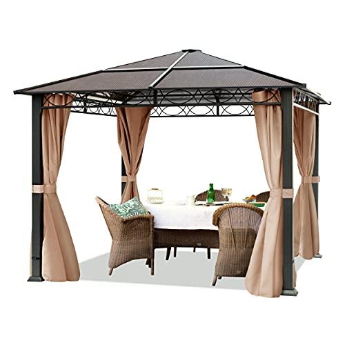 TOOLPORT Gartenpavillon 3x3 m wasserdicht ALU Deluxe Pavillon mit 4 Seitenteilen Partyzelt in Taupe lichtdurchlässiges PC Dach