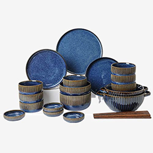 XLNB Juego de vajilla azul, platos y cuencos de porcelana, moderno creatividad, estilo vintage, para cocina, comedor, pasta, ensalada, marisco, 28 piezas