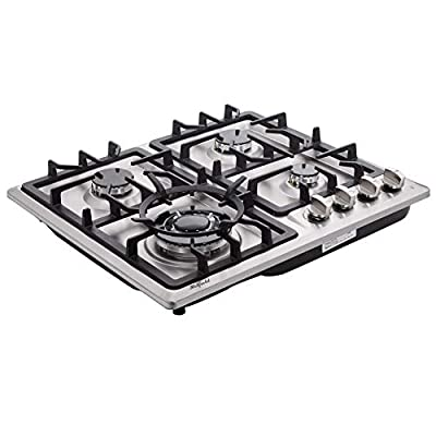 Hotfield 24 Inch Gas Cooktop Sealed 4 Burners Stainless Steel Gas Cooktop Drop-In NG and LPG Conversation Gas Hob HF524-SA05 Gas Cooker