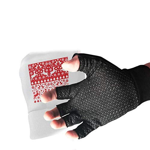 Christmas Seamless Red Reindeer Folk Fingerless Elastic Gloves Anti Slip Shock Half Finger Gloves Absorbing Padded Breathable Half Finger Gloves Split Finger Workout Gloves For Wom